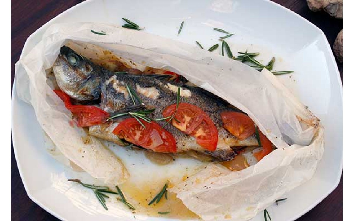 Seabass with rosemary and tomato sauce