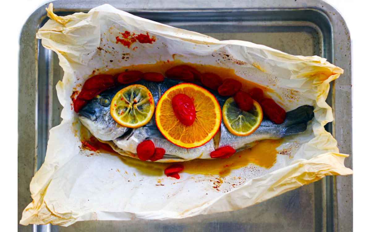 Baked Sea Bream with Orange Sauce & cherry tomatoes