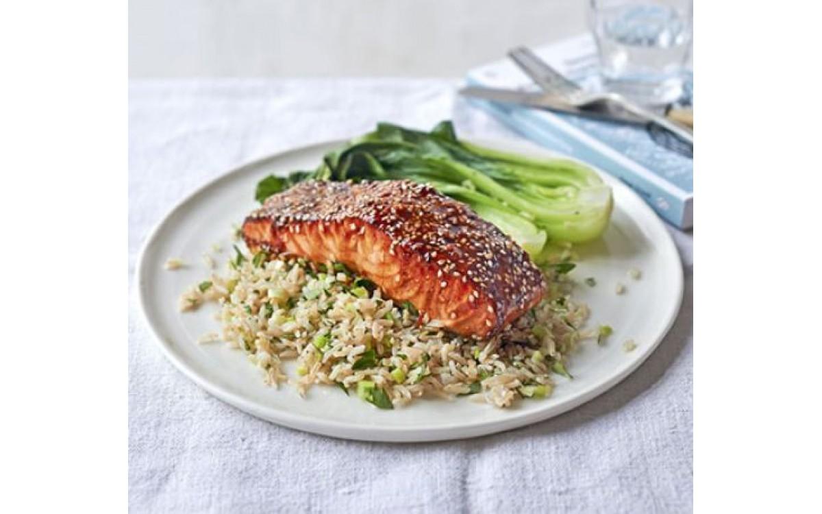 Crispy teriyaki salmon rice
